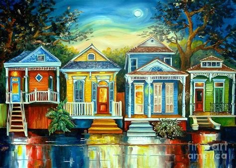 Online House Plans by Big Easy Moon Painting By Diane Millsap