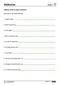 sentence structure worksheets sentence structure