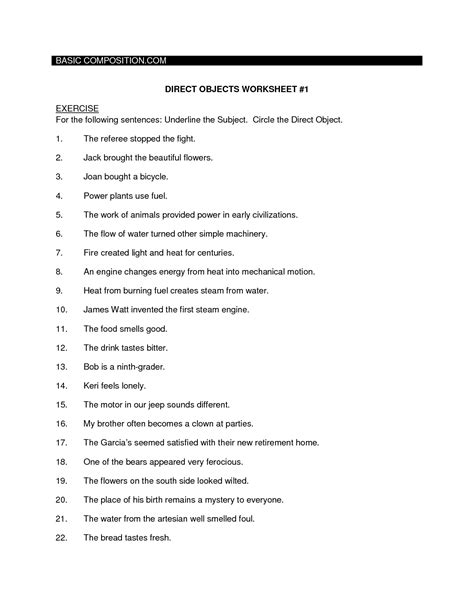 direct object worksheets 10 best images of work energy and power worksheet different forms of energy worksheets work