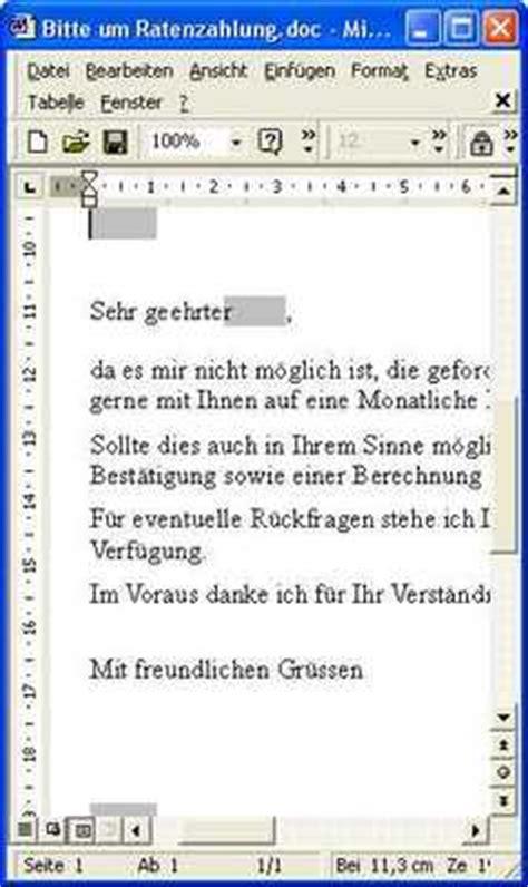 Brief Schreiben Antrag Auf Ratenzahlung Musterbrief Mit Bitte Um Ratenzahlung Runterladen Gesch 228 Ftlich