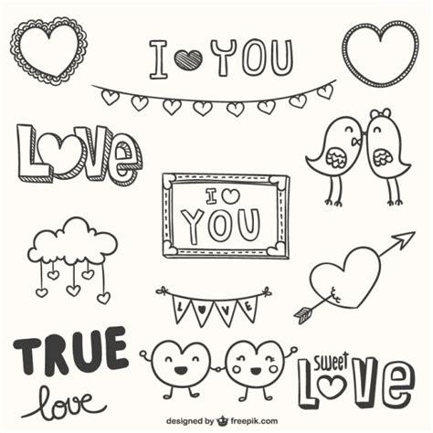doodle romantis doodle ornaments vector free
