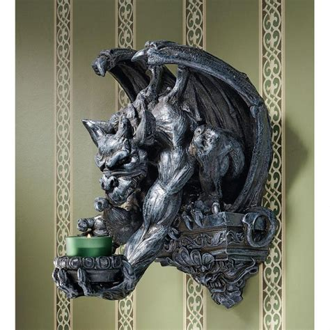 Gargoyle Wall Sconce Ancient Menacing Winged Gargoyle Wall Perch Candle Holder Wall Sconce