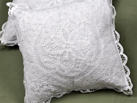 pair of throw pillow covers with battenburg lace