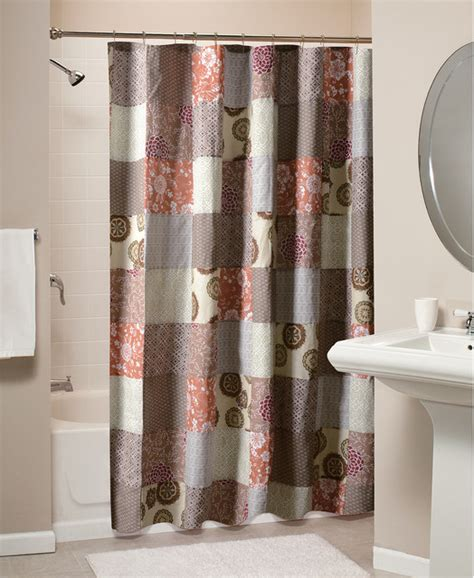 Contemporary Shower Curtains Stella Patchwork Cotton Shower Curtain Contemporary Shower Curtains By Overstock