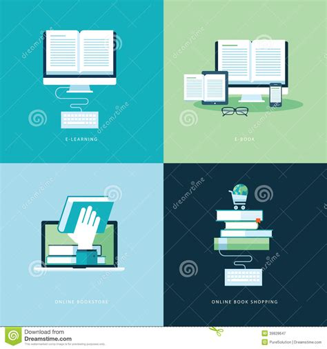 design online book set of flat design concept icons for online book stock