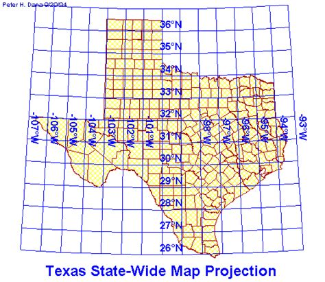 texas state plane coordinate system map map projection overview