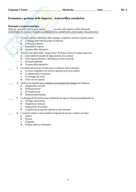 test d ingresso economia aziendale economia e gestione delle imprese test autovalutazione