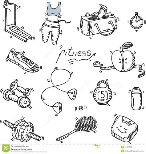 doodle runner doodle sketch icons set fitness and stock