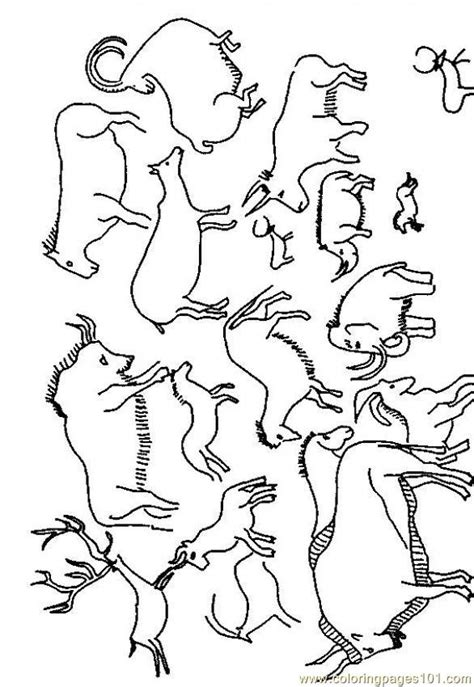 Cave Art Coloring Page   cave painting coloring pages