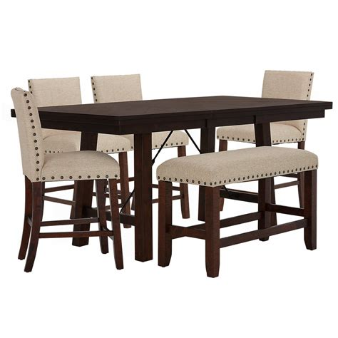 hi bench city furniture jax beige high table 4 barstools high bench