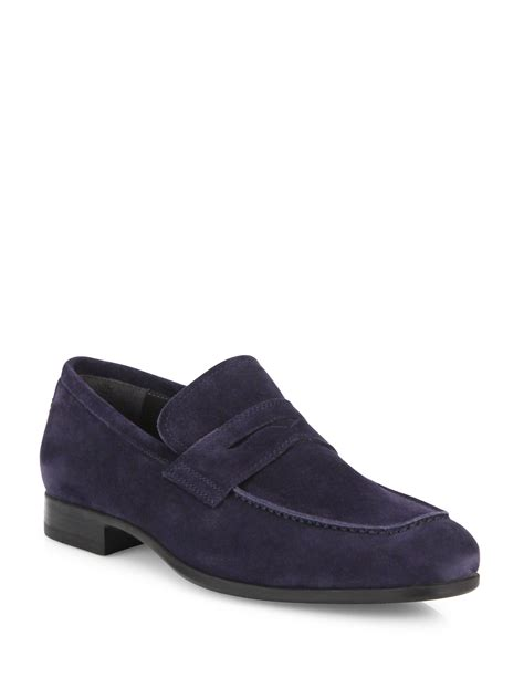 penny loafers for men clip art to boot clifton suede penny loafers in blue for men lyst