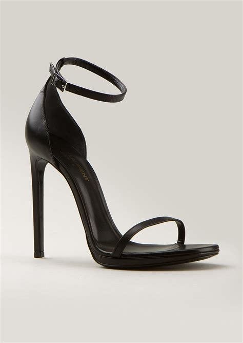high heels sandals pics laurent black leather high heels sandals in black lyst