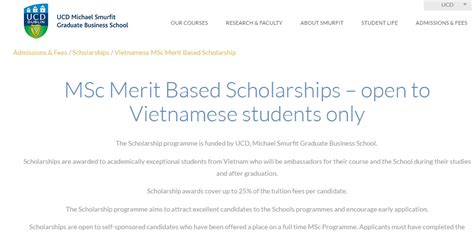 Scholarship Merit Based Mba by College Dublin Msc Merit Based Scholarships