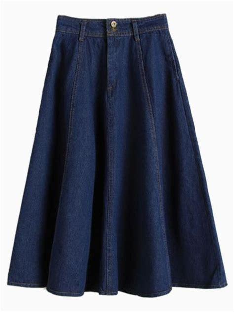 choies high waist denim midi skater skirt in blue blue
