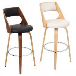 designer kitchen bar stool with black and white seat