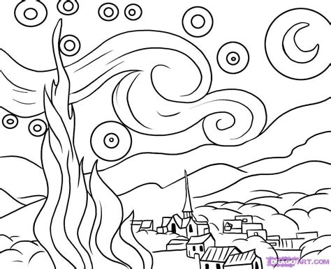 Starry Coloring Page Gogh Starry Night Black Construction Paper Glitter Glue And by Starry Coloring Page Gogh