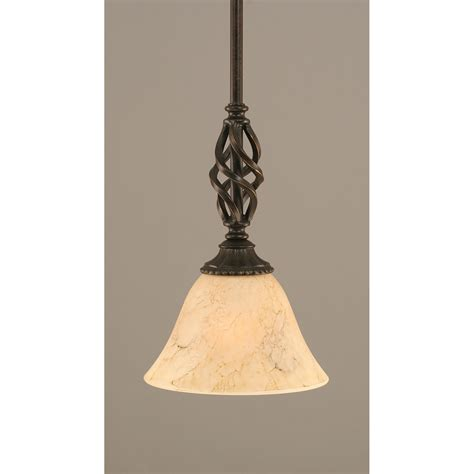 Mini Pendant Lights For Kitchen Elegante Granite One Light Mini Pendant With Italian Marble Glass Shade Toltec