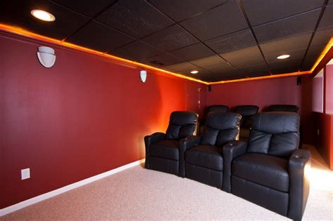 home theater for small room theater room in a small basement remodel traditional