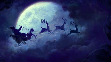wallpaper santa claus reindeer chariot full moon hd