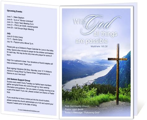 Church Bulletin Templates With Tear Out Visitor Card by Church Bulletin Templates Mountain With God All Things
