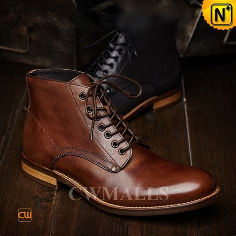 mens leather lace up ankle boots cwmalls 174 mens lace up leather ankle boots cw726509