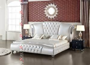 king size leather bed with tv in footboard modern