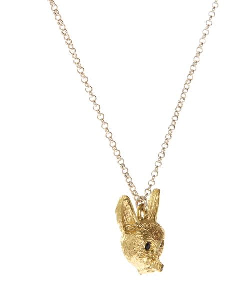 connection fox pendant necklace in metallic lyst