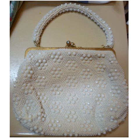 beaded purses le jule label vintage 50s white beaded purse handbag from