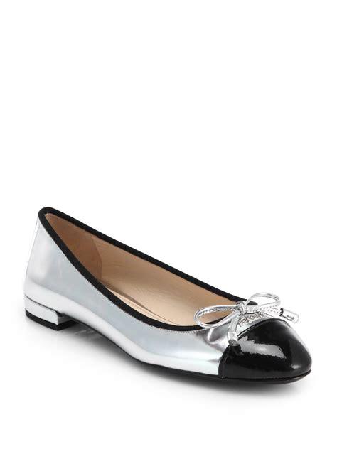 Prada Flats prada metallic leather cap toe ballet flats in silver argento silver lyst