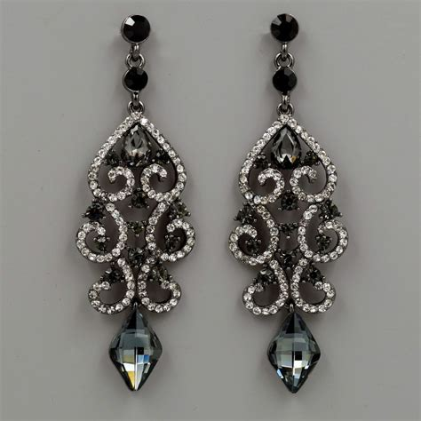 rhinestone earrings alloy black clear crystal rhinestone chandelier drop