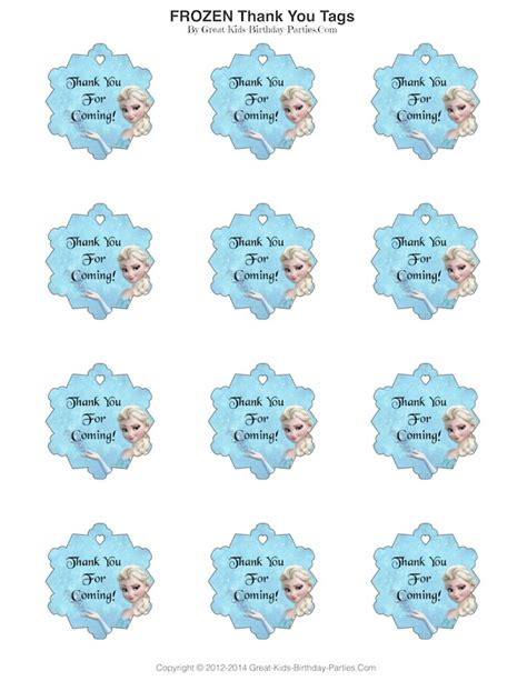 printable frozen thank you tags frozen party thank you tags let s party pinterest