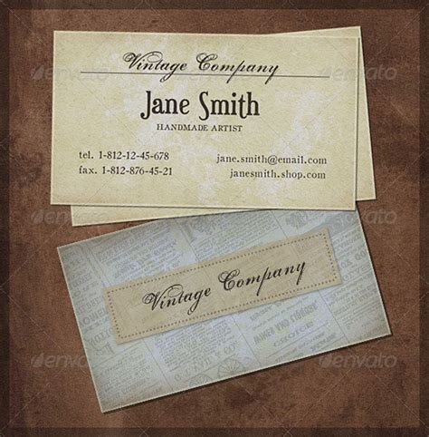 vintage multi photo card template 25 cool psd retro vintage business card templates