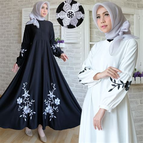 Bilbina Maxi Gamis Brukat Dress Bordir Pesta baju maxi dress baloteli bordir gamis hitam putih polos