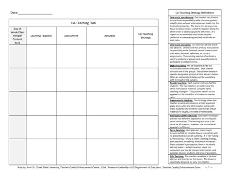 weekly lesson plan templates for teachers student planner templates co teaching planner template 1