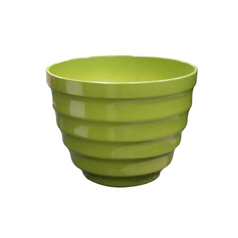 home depot large planters alpine 20 in large light green rippled plastic planter tec250l lgn the home depot