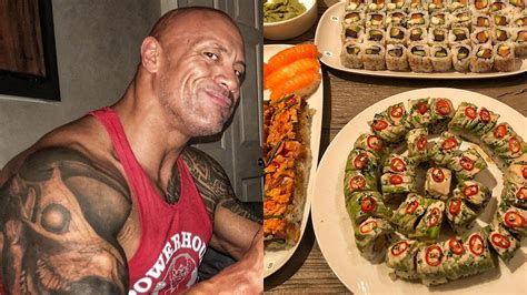 dwayne the rock johnson cheat day food dwayne johnson shares his sushi cheat meal on instagram