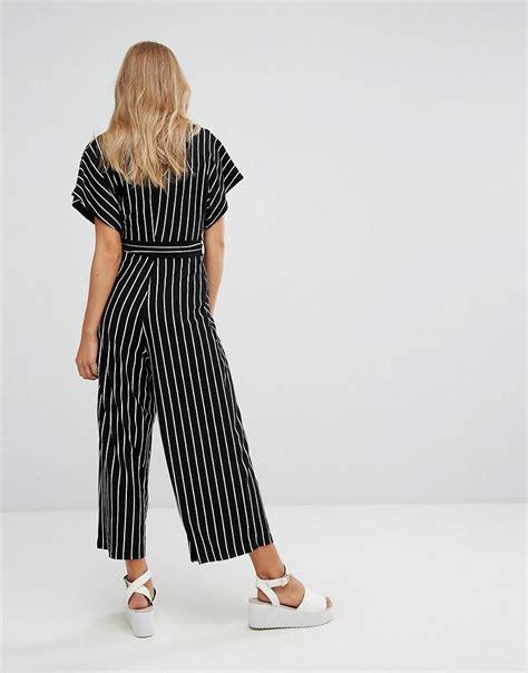 Glr Dress Berska Stripe lyst bershka stripe batwing jumpsuit in black