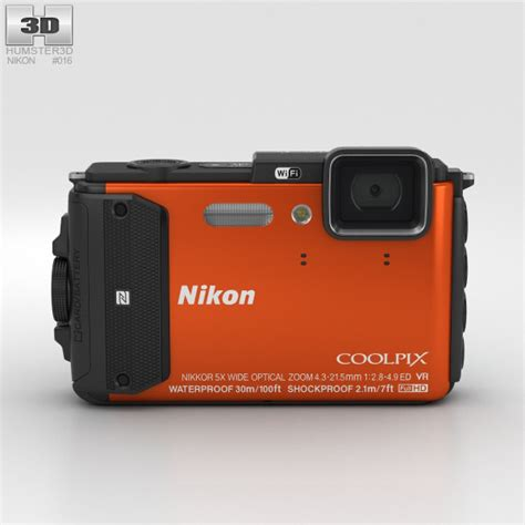 nikon model nikon coolpix aw130 orange 3d model hum3d