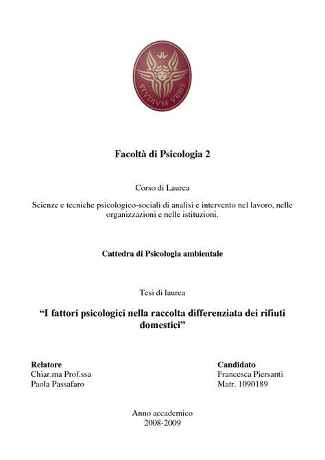 tesi psicologia cattedra di psicologia ambientale tesi di laurea i