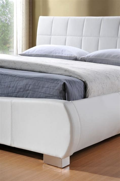 white leather bed limelight dorado 6ft super kingsize white faux leather bed