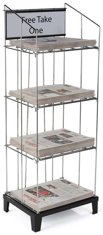 Newspaper Display Rack by Wire 3 Shelf Newspaper Rack Floor Standing Display For