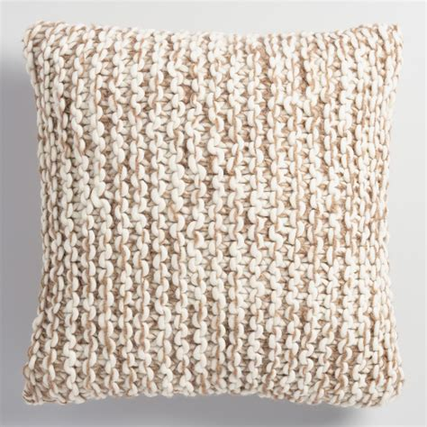 oatmeal and ivory chunky knit throw pillow world market