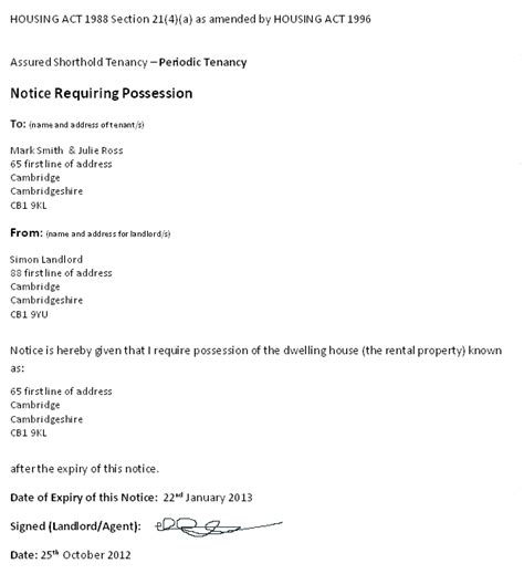 Ending Tenancy Agreement Sle Letter Landlord Section 21 Notice Template 28 Images Nebosh Important Q A Eviction Letter Template Uk