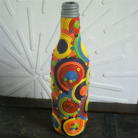 decorative bottle art glass bottle decorated in by hipearthdesigns 125 00 botella