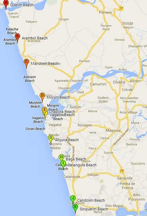 Goa Beaches | 34 Best Beaches in Goa - List & Maps