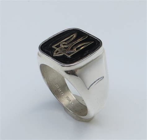 square silver ring with 10k gold tryzub myroslava dubyk