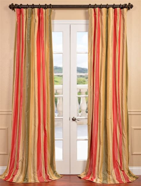 taffeta silk curtains orleans faux silk taffeta stripe curtain contemporary