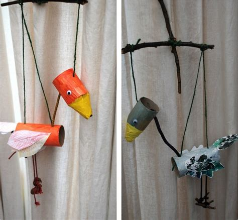 How To Make Sticks With Toilet Paper Rolls - toilet paper roll bird puppets munchkins and