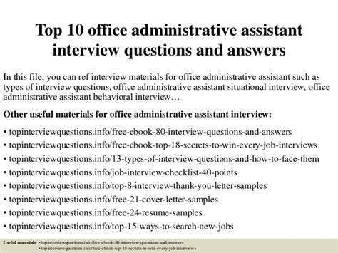 top 10 office administrative assistant questions and answers