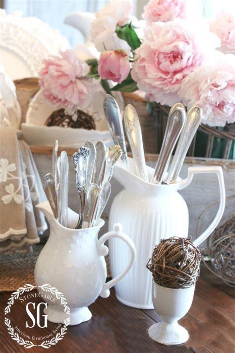 farmhouse style white pitchers stonegable